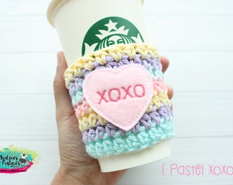 Valentine's Day Coffee Cozy { Pastel XOXO } rainbow heart, cup sleeve, knit mug sweater, stocking stuffer, rainbow birthday, treat bags