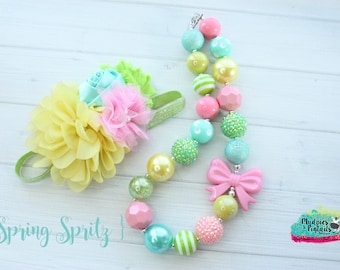 Easter necklace or baby headband { Spring Spritz } aqua,yellow line, first birthday, circus, easter, spring cake smash photography prop