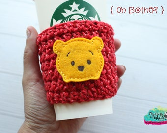 Winnie the Pooh Cup Cozy { Oh Bother } red, yellow crochet coffee sleeve, hundred acre woods knit mug sweater, frappuccino holder