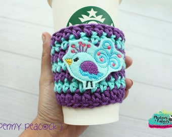 Crochet Coffee Cup Holder { Penny Peacock } purple glitter, cup cozy, knit mug sweater, starbucks gift, frappuccino holder