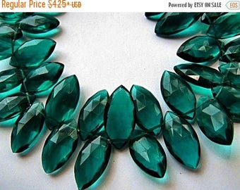 SALE Blue Green Hydro Quartz Gemstone. Faceted Marquise Briolette. 16-18mm. Pairs or Non Matching 1 to 5 Briolettes (6HQT4)