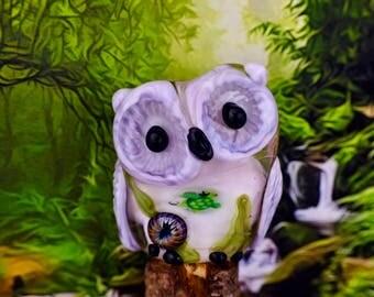 Esther......... lampwork owl bead............ sra