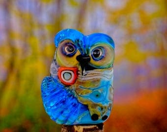 Edie........ lampwork owl bead............ sra