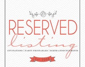 Reserved listing for Liz R.