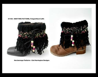 knitting pattern, fringed boot cuffs, leg warmers, women's accessories, winter clothing, knitting for teens,  #1002K