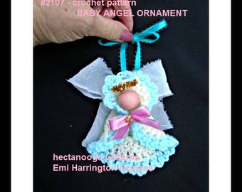 CROCHET PATTERN, Little angel ornament, Christmas ornament, tree ornament, holiday hanging ornie, #2107