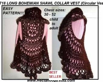 Crochet PATTERN- Sweater, Vest, Jacket ,#718