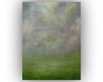 Abstract Sky Field and Clouds Oil Painting- Large 30 x 40 Green Gray and Yellow Landscape Painting- Original Palette Knife Art on Canvas