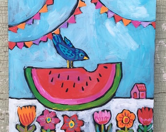 Small Watermelon Folk Art Painting