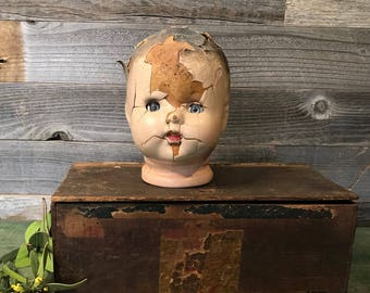 Antique Composition Doll Head Vintage Doll- Sleepy Eyes- Worn Patina Oddity- Scary Doll Parts- Photo Prop Doll