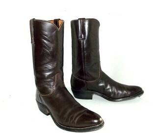 Vintage Justin brand Cowboy Boots size 10.5 B - chestnut brown