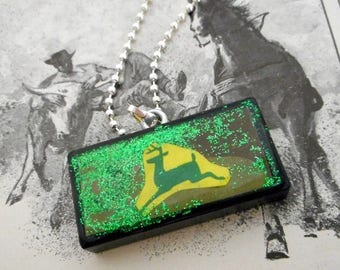 Yellow and Green Deer Collage Domino Necklace Pendant Reclaimed Mixed Media Art