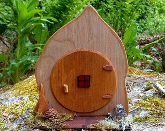 Fairy Door, Miniature Hobbit Door with Porch, Wood Fairy House door handmade with natural forest finds, one of a kind