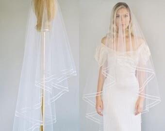 Ivory Drop Veil, Wedding Veil, Bridal Veil, Soft Tulle Veil, Drop Veil Pencil Edge Veil Simple Wedding Veil Blusher Veil Two Tier Veil  1622