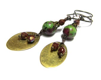 ON SALE Ruby Zoisite Earrings - Gemstone - Earrings - Dangle Drop Earrings - Gift For Her - dangle earrings - brass drop earrings