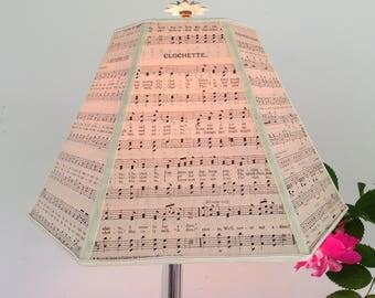 "Music Lamp Shade, Paper Lampshade Vintage Sheet Music 5""x12""x8"" Washer top - Music Room Decor, Piano Lamp Shade"