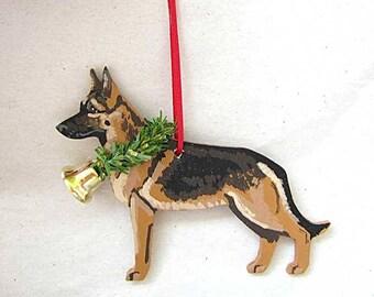 Hand-Painted GERMAN SHEPHERD Tan/Blk Wood Christmas Ornament Artist Original