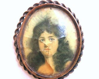 Antique Gothic Cameo Brooch Goth Victorian Lady Copper Picture Vintage