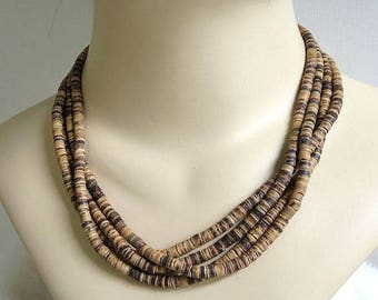 Natural Wood Bead Necklace Vintage Multi-Strand Boho Hippie