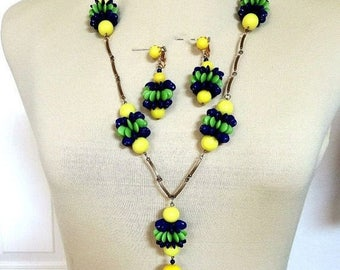 Glass Beads with Lucite Necklace and Earrings Set Yellow, Green and Blue Vintage