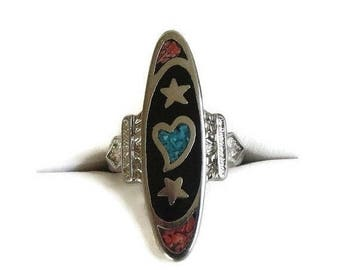SALE Turquoise Heart and Stars Ring Silver & Coral Vintage Size 5.75
