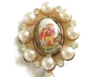 SALE Vintage Cameo Brooch Antique Copper and Faux Pearl Hand Painted