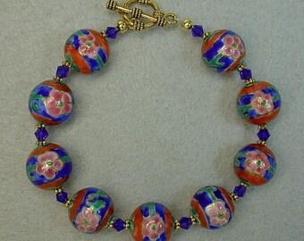 Vintage Chinese Porcelain Flower Bead Bracelet Cobalt Blue, Red, Pink, Vintage Swarovski Cobalt Blue Crystal,Gold Toggle Clasp- GIFT WRAPPED