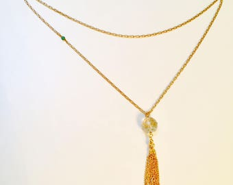 Matte gold long chain necklace with  faceted Swarovski crystal ball bead and tassel -long pendant necklace