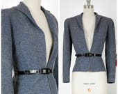 Vintage 1930s Jacket - Exquisite Tailored Late 30s Tailored Blazer in Blue Tweed with Marvelous Seamwork and Belt Loops