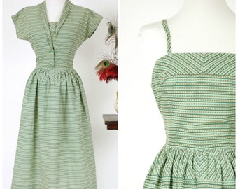 Vintage 1950s Dress - Cheerful Striped Print Cotton 50s Sundress with Matching Jacket in Shamrock Green, Golden Yellow, Black and White
