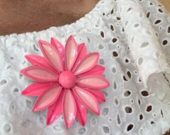 Vintage 1960s Hot Pink Enamel Flower Brooch Pin