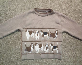 Vtg Childs Dog Sweater / Brown and White Dog Sweater / Childs Sweater / Pullover Sweater
