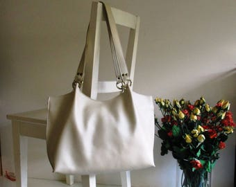 Pearl White Leather Tote Shoulder Bag with Removable Straps