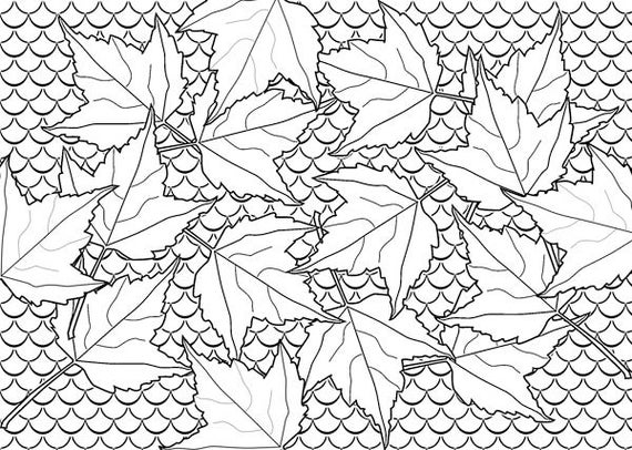 fall leaves fish scales coloring page abstract art leaf pattern line art digital download adult kids coloring pages printables