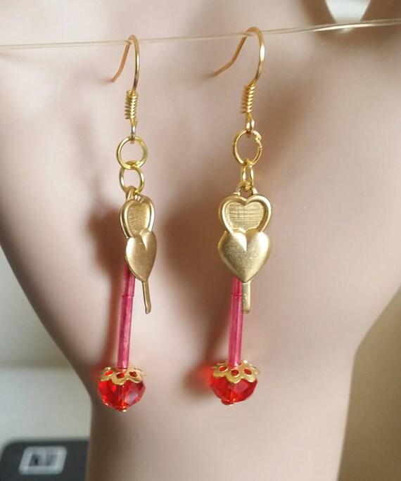 brass two heart earrings red bead drop earrings long dangles charms glass bead love handmade jewelry by Elizavella