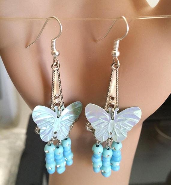 blue butterfly bead earrings chandelier earrings long dangles teardrop beaded sequin silver handmade jewelry by Elizavella Designs