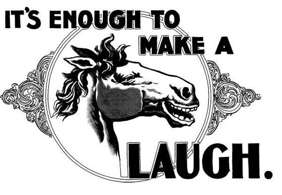 """horse laughing printable wall art png Digital graphics image download animal advertisements 1800s illustration black & white 8.5 """" x 12"""""""