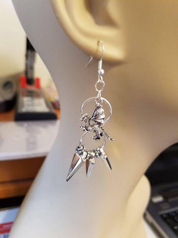 dragon charm chandelier earrings silver spike drop hoop long dangles handmade fantasy jewelry Elizavella