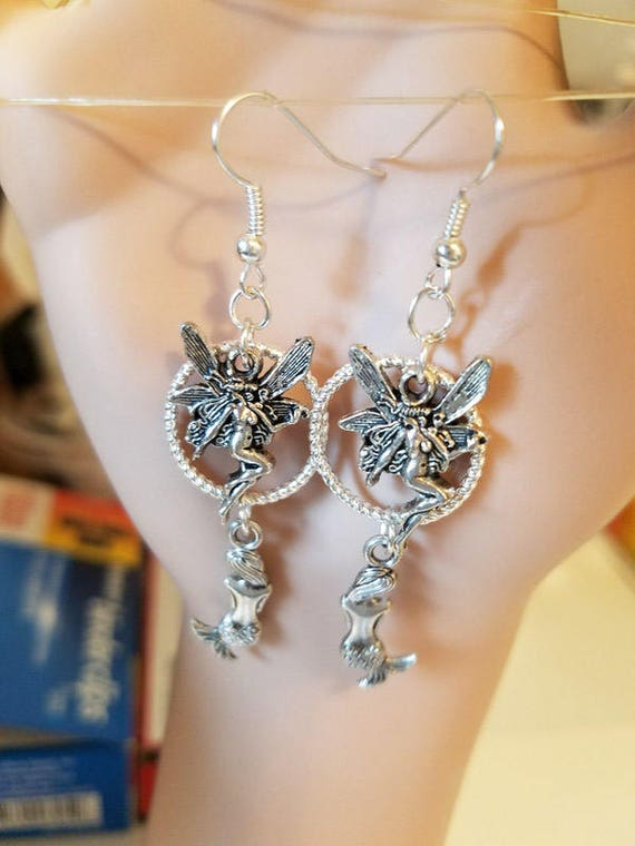fairy mermaid earrings silver hoop earrings long charm dangles handmade fantasy jewelry womens gifts