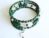 HEARTBEATS Custom Bracelet, Green stone Cuff, Pregnancy Bracelet, Memory Wire Bangle, Boho Chic Jewelry, Elegant Cuff
