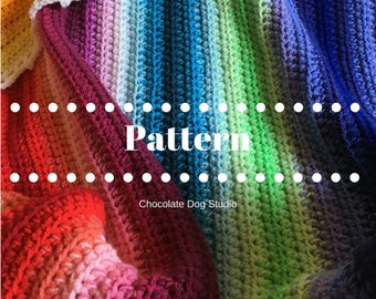 Crochet blanket Ombre Rainbow stripe Sunshine and Shadows afghan pattern