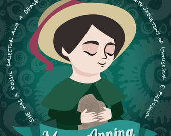 Marie Anning poster, women in science illustration, scientist print