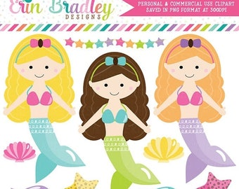 80% OFF SALE Mermaids Clipart Fish Seashell Starfish Clip Art Graphics for Girls Instant Download Commercial Use