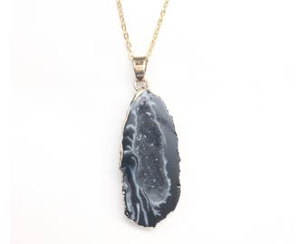 """Black and Gold Druzy Necklace on 30"""" Gold Chain"""