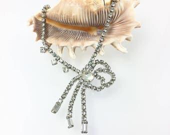 Rhinestone Bow Choker Necklace, Rhinestone Tassel, Bridal Wedding Jewelry, 1940's 1950's Jewelry, Something Old