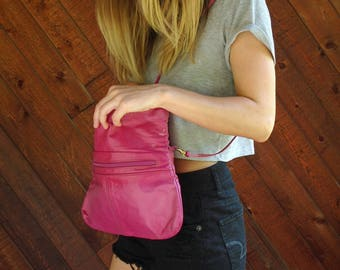 Cranberry Pink Leather Foldover Shoulder Bag Purse Clutch - Vintage 80s