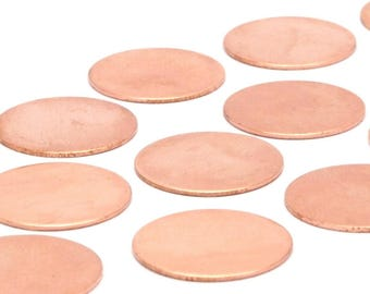 Copper Round Stamping Blank, 12 Raw Copper Stamping Blanks (20x0.80mm) D501