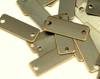 Antique Brass Bar, 100 Antique Brass Rectangles With 2 Holes, Connectors, Charms, Geometric Findings (6x16mm) K134