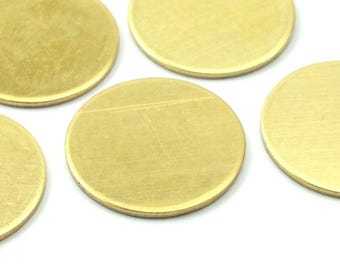 Brass Tag Disc, 10 Raw Brass Stamping Tags, Blanks Without Holes, 18 Gauge (20mm) (b0110)
