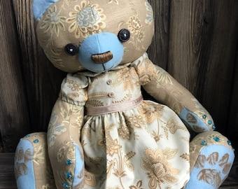 "new pattern prototype artist teddy bear 24"" linen type floral print fabric in a custom dress by Karen Knapp of Tindle Bears"